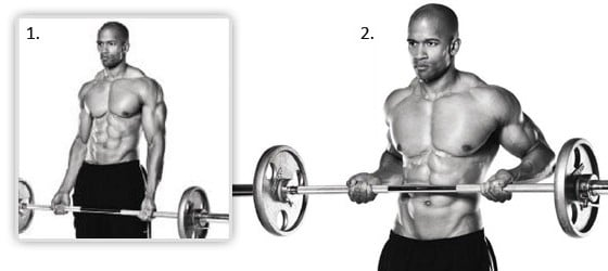 Barbell drag curls